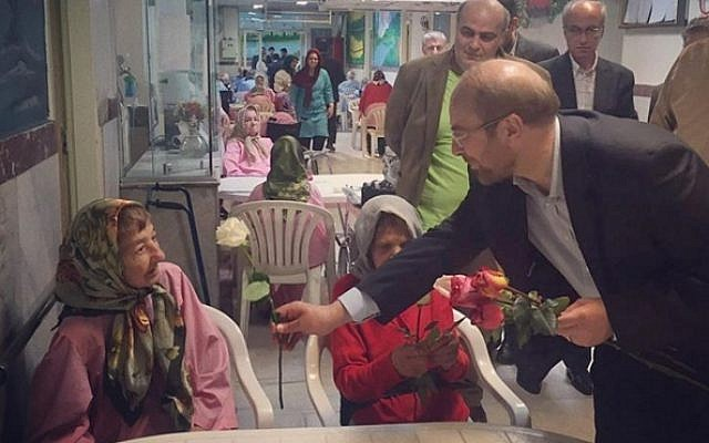 Tehran Mayor Mohammad Bagher-Ghalibaf visits a Jewish nursing home on Friday, April 22, 2016, then posts a photo of the visit on Instagram. (Instagram)