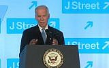 Illustrative: Vice President Joe Biden addresses the J Street gala on April 19, 2016 (YouTube screenshot)