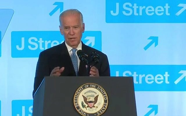 Vice President Joe Biden addresses the J Street gala on April 19, 2016 (YouTube screenshot)