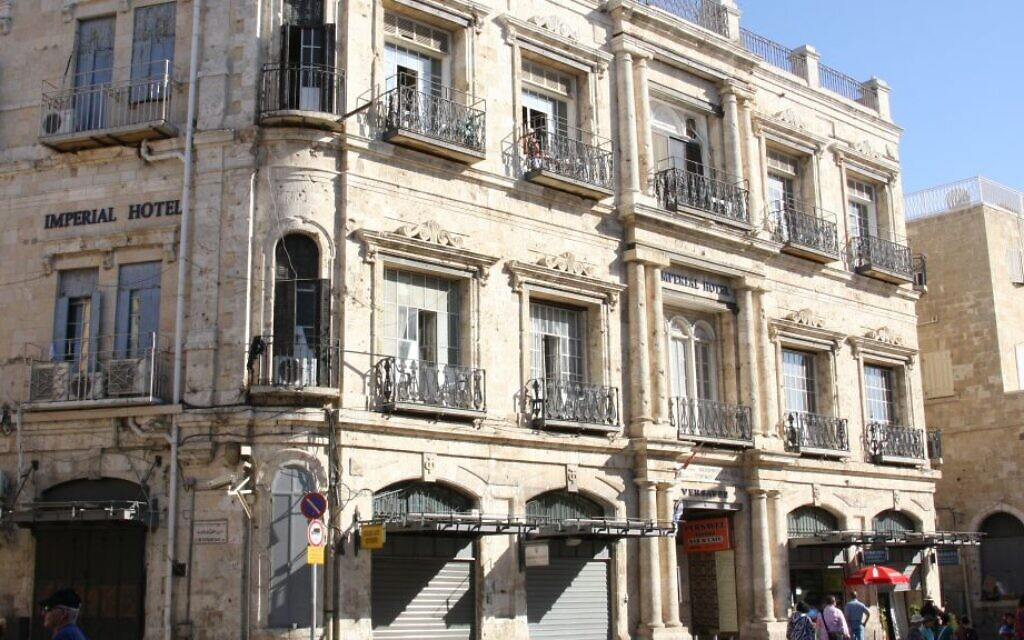 The Imperial Hotel at the Jaffa Gate, the lease to which was sold to the right-wing Ateret Cohanim organization and is the subject of an appeal by the Greek Orthodox Patriarch.  (Shmuel Bar-Am)