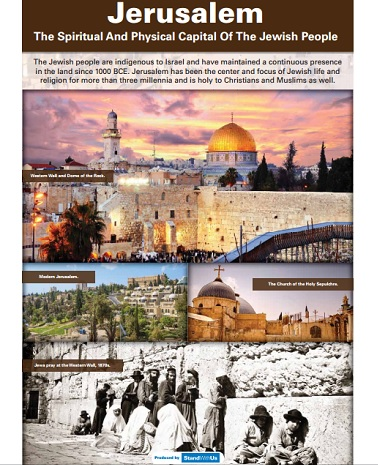 A panel on Jerusalem that was removed by UN officials from an exhibit on Israel prepared by the Israeli Mission to the UN and StandWithUs set to be displayed April 4, 2016. (Israeli Mission to the UN)