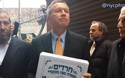 John Kasich speaks after dropping by a matzah bakery in Borough Park, April 12, 2016.  (Screenshot/YouTube)