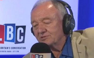 Ken Livingstone speaking on April 30, 2016 to London radio station LBC (screen capture: Twitter)