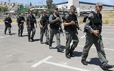 File: Israeli security forces walking by Jerusalem's Malha Mall on April 15,2010. Photo by Nati Shohat/Flash90.