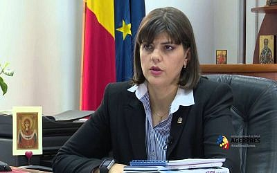 File photo of Romanian chief anti-corruption prosecutor Laura Kovesi. (Screenshot from YouTube)