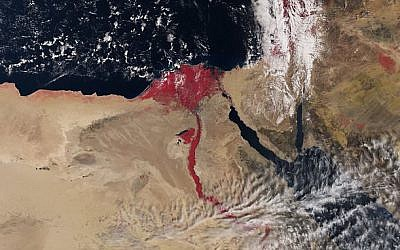 A satellite image of the Nile using infrared technology colors the river in red (Courtesy European Space Agency, April 2016)