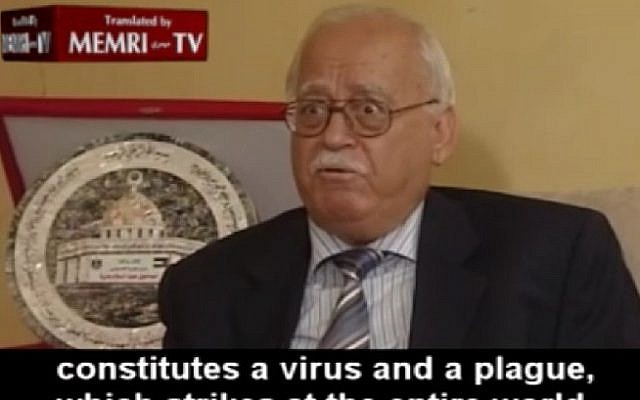 Former governor of the Palestinian Monetary Authority Dr. Fouad Bseiso tells al-Quds TV that Jewish financial activity led to the world financial crisis in 2008. (Screenshot/MEMRI)