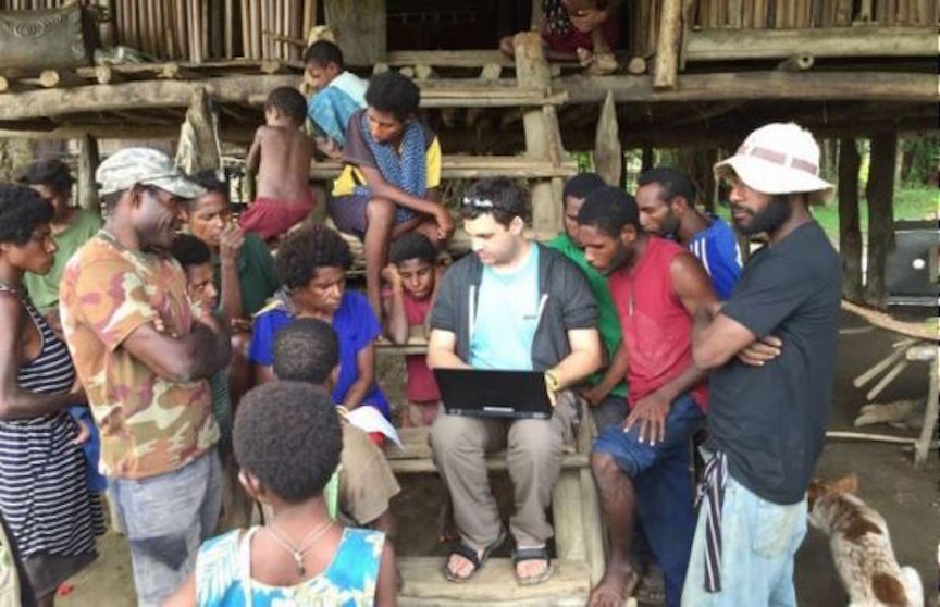 Golan Levi (C) with members of a Papua New Guinea tribe (Courtesy)