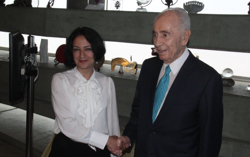 During her 2015 visit to Israel, Maryam Faghih Imani, the founder and president of the Centre for Cultural Diplomacy & Development, met with former president Shimon Peres (The Peres Center for Peace)