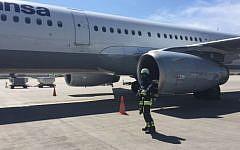 A Lufthansa plane which returned to Munich when an engine failed, April 21, 2016 (Ksenia Svetlova)