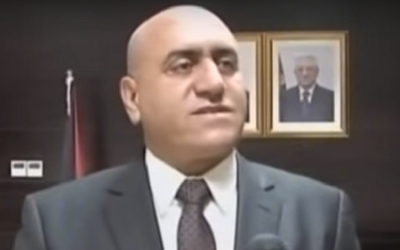 Akram Rajoub, who said on April 26, 2016, that he had been fired from the post of governor of Nablus by Palestinian Authority President Mahmoud Abbas.  (Screenshot: YouTube)