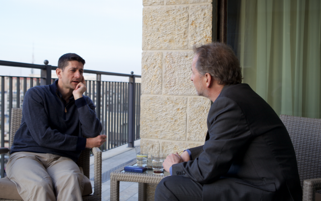 Paul Ryan (left), interviewed by Times of Israel editor David Horovitz in Jerusalem on April 3, 2016. (Courtesy)
