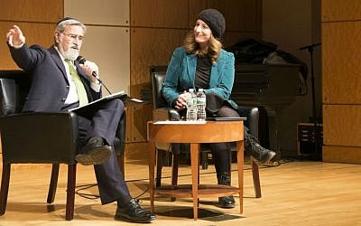 Rabbi Jonathan Sacks speaks with Lynn Kaye, assistant professor in the Ohio State University's department of Near Eastern Languages and Cultures, at The Center for Jewish History in New York, April 5, 2016. (courtesy)