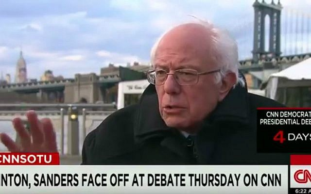 Democratic presidential candidate Sen. Bernie Sanders during an interview on CNN's 'State of the Union,' April 10, 2016. (screen capture: YouTube)