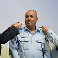 Jamal Hakrush becomes the first Arab Muslim deputy commissioner in the Israel Police, April 2016 (Israel Police)