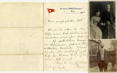 Left: The letter sent by German Jew Paul Danby from the Titanic. Top right: Danby and his wife, Rose, who both perished in the Holocaust. Bottom right: Adolphe Saalfeld, Danby's uncle, who survived the sinking of the luxury liner. All three items were put up for auction in April 2016, 104 years after the ship sank in the North Atlantic Ocean. (photos courtesy of Henry Aldridge and Son auctioneers)