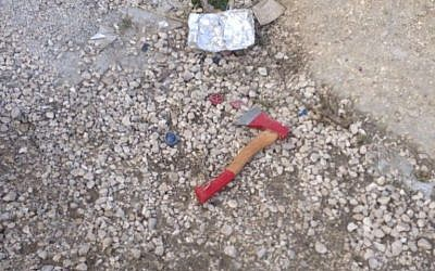 The ax a Palestinian used to attack an IDF soldier in the West Bank on April 14, 2016 (IDF spokesperson's office)