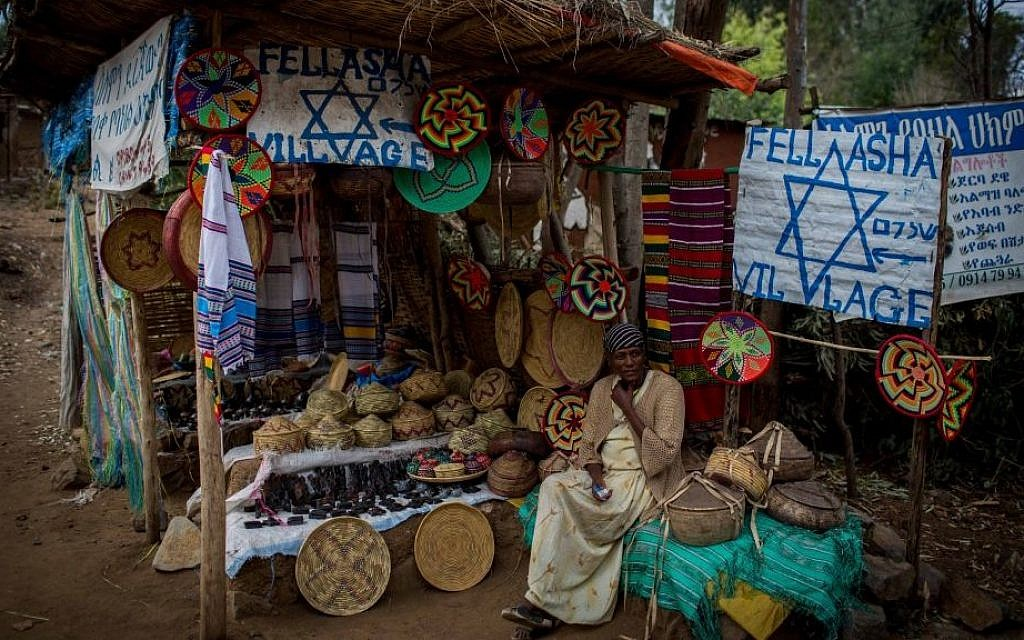 Ethiopia Berihe, 40, next to her craft stand at the entrance to Wolleka village, Gondar, Ethiopia, on April 24, 2016. (Miriam Alster/Flash 90).