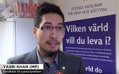 Swedish Green Party politician Yasri Kahn quits after facing backlash for refusing to shake women's hands (YouTube screenshot)