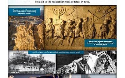 A panel on Zionism that was initially removed by UN officials from an exhibit on Israel prepared by the Israeli Mission to the UN and StandWithUs set to be displayed April 4, 2016. (Israeli Mission to the UN)