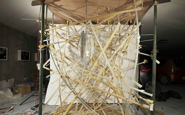 Setting up 'Life Object,' the living, breathing birds' nest created by a team of Israeli scientists and architects for the May 2016 International Architecture Biennale in Venice, Italy (Courtesy LifeObject team)
