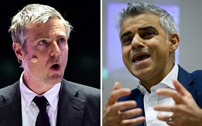 Left: The Conservatives' London mayoral candidate Zac Goldsmith speaks at a London Mayoral Accountability Assembly at the Queen Elizabeth Olympic Park in London on April 28, 2016; Right: Labour's candidate for London mayor Sadiq Khan speaks at an event in London on January 28, 2016. (AFP/Justin Tallis and Leon Neal)