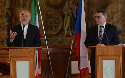 Czech Foreign Minister Lubomir Zaoralek (R) and Ali Akbar Salehi, the head of Iran's Atomic Energy Organization address a press conference on May 2, 2016, in Prague.  (AFP PHOTO / Michal Cizek)