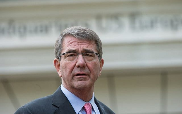 US Defense Secretary Ashton Carter gives a speech during his visit at the Patch Barracks in Stuttgart, southern Germany,  May 3, 2016. (AFP/dpa/Marijan Murat)