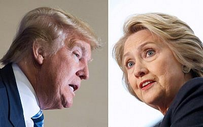 Democratic presidential candidate Hillary Clinton (left) on April 4, 2016 and Republican challenger Donald Trump on February 16, 2016. (AFP Photo)