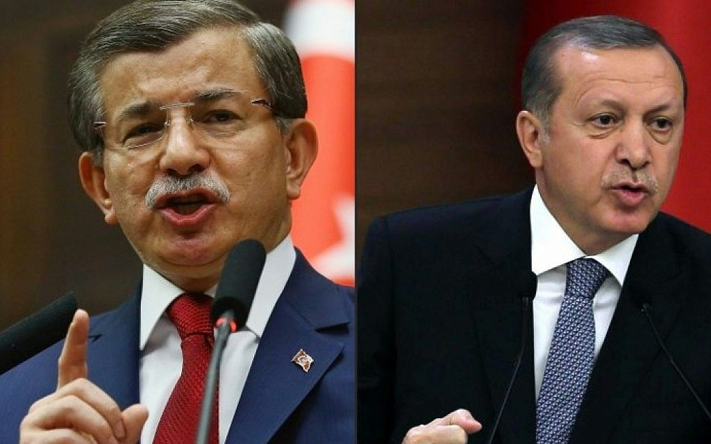 This combination of pictures shows Turkish Prime Minister and leader of Turkey's ruling party, the Justice and Development Party (AKP) Ahmet Davutoglu (left) in Ankara on May 3, 2016 and Turkish President Recep Tayyip Erdogan (right) delivering a speech in Ankara on February 24, 2016 (ADEM ALTAN / AFP)
