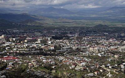 This file photo taken on April 04, 2016 shows a view of Stepanakert, the unrecognized capital of Armenian-seized Azerbaijani region of Nagorno Karabakh. (AFP PHOTO / KAREN MINASYAN)