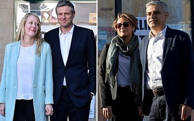 Images taken on May 5, 2016, show Conservative mayoral candidate Zac Goldsmith and wife Alice (left), and Labour rival Sadiq Khan and his wife Saadiya, as they leave after casting their votes at a Polling Stations in south-west and south London respectively. (AFP PHOTO / BEN STANSALL AND JUSTIN TALLIS)