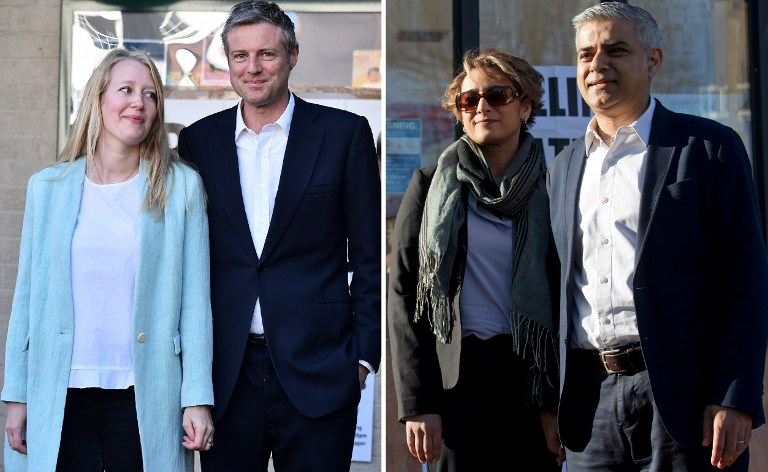 Images taken on May 5, 2016, show Conservative mayoral candidate Zac Goldsmith and wife Alice left), and Labour rival Sadiq Khan and his wife Saadiya, as they leave after casting their votes at a Polling Stations in south-west and south London respectively. (AFP PHOTO / BEN STANSALL AND JUSTIN TALLIS)