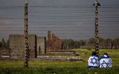 Participants of the annual March of the Living are seen at the former Auschwitz-Birkenau Nazi death camp in Poland, on May 5, 2016. (AFP PHOTO / WOJTEK RADWANSKI)