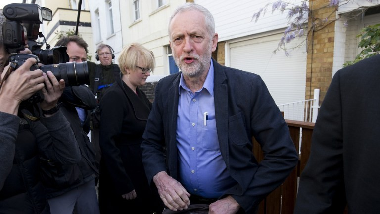 Britain's opposition Labour Party leader Jeremy Corbyn leaves his home in London on May 6, 2016, a day after facing his first test in nationwide local elections. (AFP Photo/Justin Tallis)