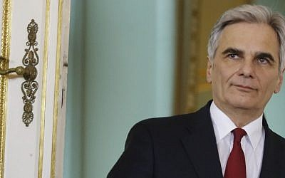 Austrian Chancellor Werner Faymann arriving for a press conference in Vienna, Austria, March 1, 2016. (AFP/Dieter Nagl, File)
