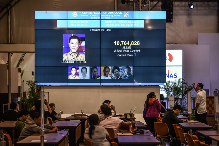 Filipinos look at a giant screen showing unofficial results of presidential candidate and Davao Mayor Rodrigo Duterte in Manila on May 9, 2016. (Mohd Rasfan/AFP)