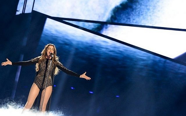 Iveta Mukuchyan representing Armenia performs the song 'Lovewave' during the 1st semi-final of the Eurovision Song Contest 2016 in Stockholm, Sweden, May 10, 2016. (AFP/JONATHAN NACKSTRAND)