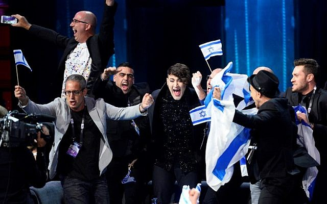 Hovi Star representing Israel celebrates as he advances to the Grand Final, after qualifying in the second semi-final of the Eurovision Song Contest 2016 in Stockholm, Sweden, on May 12, 2016. (AFP/Jonathan Nackstrand)