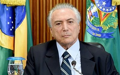 Brazilian acting President Michel Temer is seen during the first ministers meeting at the Planalto Palace in Brasilia, on May 13, 2016.  (EVARISTO SA / AFP)