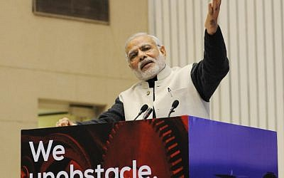 Indian Prime Minister Narendra Modi gesturing as he speaks during an event to launch an initiative to bolster start-ups in New Delhi, January 16, 2016. (AFP)