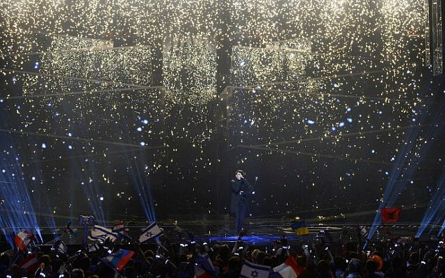 """Hovi Star, representing Israel with the song """"Made Of Stars,"""" performs during the grand final of the Eurovision Song Contest 2016 in Stockholm, on May 14, 2016. (Jonathan Nackstrand/AFP)"""