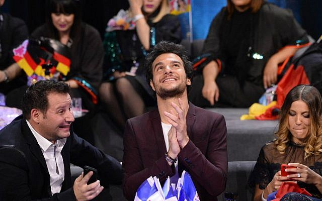 """Amir Haddad, representing France with the song """"J'ai Cherche,"""" reacts during the grand final of the Eurovision Song Contest 2016 in Stockholm, on May 14, 2016. (Jonathan Nackstrand/AFP)"""