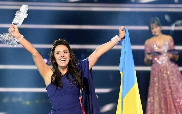 """Jamala, representing Ukraine with the song """"1944,"""" reacts after winning the grand final of the Eurovision Song Contest 2016 in Stockholm, on May 14, 2016. (Jonathan Nackstrand/AFP)"""