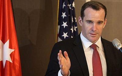 Brett McGurk, US special envoy to the anti-Islamic State coalition, in Amman on May 15, 2016. (AFP Photo/Khalil Mazraawi)