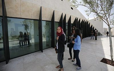 Journalists visit the Palestinian Museum in West Bank town of Birzeit, near Ramallah, on May 17, 2016, during a press preview on the eve of the museum's opening to the public. (AFP PHOTO / ABBAS MOMANI)