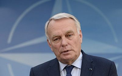 French Foreign Affairs Minister Jean-Marc Ayrault gives a joint press during a foreign affairs ministers meeting at the NATO headquarters in Brussels, May 19, 2016. (AFP/JOHN THYS)