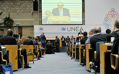 Deputy Secretary-General of the United Nations Jan Eliasson speaks during the United Nation Environment Assembly (UNEA) on May 26, 2016 in Nairobi. (AFP PHOTO / SIMON MAINA)