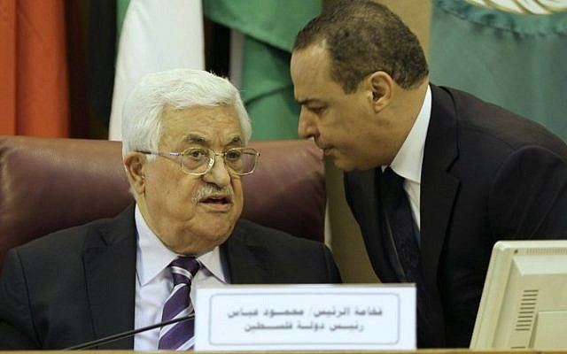 Palestinian Authority President Mahmoud Abbas during a meeting of Arab foreign ministers to discuss a French peace initiative in the Egyptian capital Cairo, on May 28, 2016. (AFP)