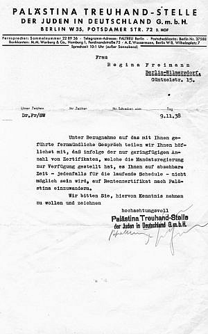 A letter dated November 9, 1938 denying Jonathan Wittenberg's great-grandmother Regina Freimann permission to emigrate and escape the Nazi occupation. Due to the bureaucracy, Regina would eventually perish in Auschwitz (courtesy)